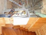 Ясеневая лестница на металлический каркас - фото 7